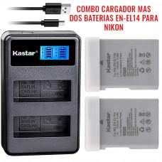 Combo 2 Baterías + Cargador USB  EN-EL14